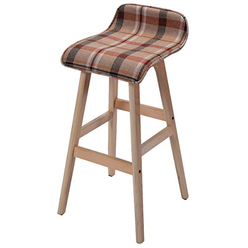COSTWAY 29-Inch Vintage Wood Bar Stool Dining Chair Counter Height Kitchen Bar 1, Red