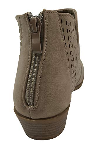 Top Taupe Moda Side Chunky V Perforated Ankle Women's Bootie Low Heel Cut Stacked 77THqrd