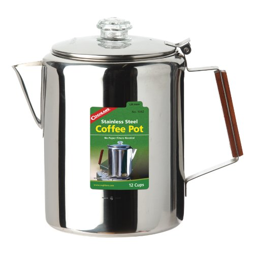Coghlans 12 Cup Stainless Steel Coffee Pot, Silver (Seamless Tea Kettle compare prices)