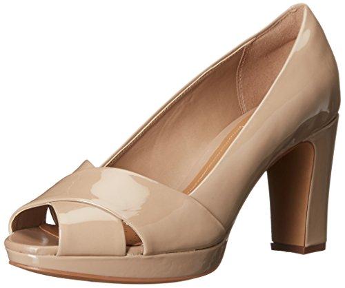 CLARKS Women's Jenness Cloud Dress Pump, Sand Patent, 9 M (Clarks Peep Toe Shoes)