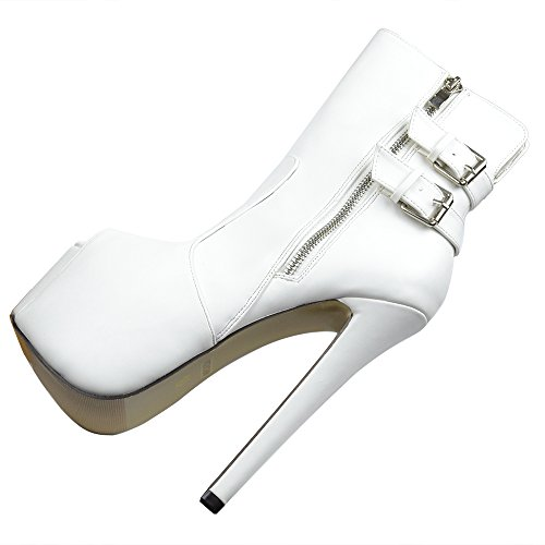 Sexy Womens Calf High White Accent Mid Reverse White Boots Heels Buckle BBrRxY7