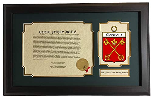 Clermont - Coat of Arms and Last Name History, 14x22 Inches Matted and Framed