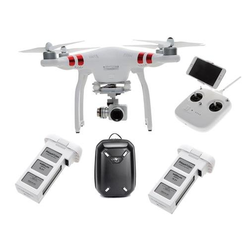 DJI Phantom 3 Standard Quadcopter Aircraft with 3-Axis Gimbal and 2.7k Camera - Bundle with Spare Battery for Phantom 3 4480mAh Capacity, DJI Hardshell Backpack (Descent Point Drop)