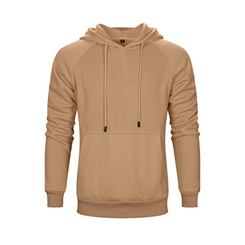 (ASALI Men's Solid Casual Hoodie Sweatshirts Sports Pullover Soft Hooded Khaki M)
