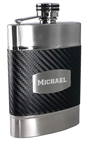 Personalized 6oz. Visol Buckingham Carbon Fiber Patterned Leatherette Liquor Flask with Free Engraving -