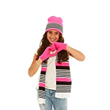 S.W.A.K Girls Knit Hat Scarf Gloves Set (See More Colors Patterns)