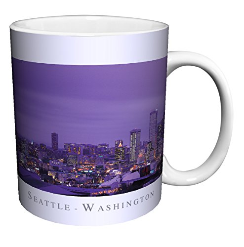 Seattle Washington Purple Skyline City Photography Ceramic Gift Coffee (Tea, Cocoa) 11 Oz. Mug
