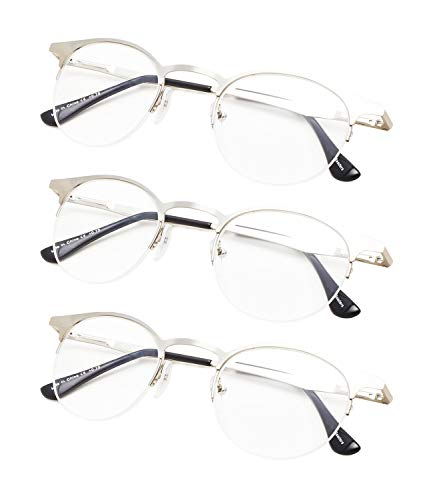 3-Pack Half-Rim Oval Round Reading glasses with Spring Hinges Silver +1.75 (Ovale Gläser)
