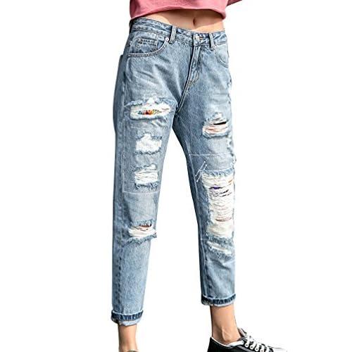 low-cost ZhiYuanAN Mujer Vaqueros Rectos Con Parches Moda Rasgados Jeans  Boyfriend Casual Baggy Rotos c2950a9b8fde
