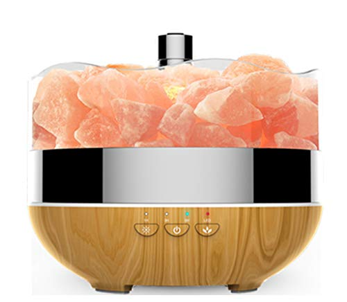 (Smart Wifi Essential Oil Diffuser - Alexa & Google Home Compatible - 400ML Bedside Crystal Halotherapy Himalayan Salt Lamp,Aromatheraphy Cool Mist,7-colored LED Lights,for Home Yoga Spa Baby Office)