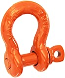 "CM M648P Super Strong Anchor Shackle with Orange Powder Coated Screw Pin, 1-1/2 Ton Work Load Limit, 3/8"" Size"