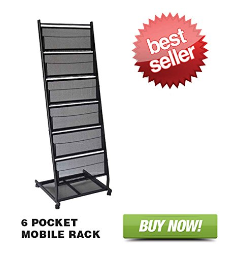 Literature Rack - 6 Pocket Mobile Literature Display Rack (Medium)