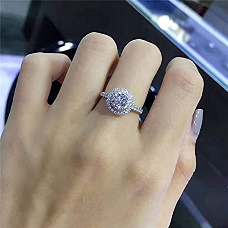 Amazon.com: JEWH Silver Wedding Rings for Women - Charms Queen Princess Ring - Round Pink Stone Bridal Engagement Jewelry - Sweet Proposal Ring for Women ...