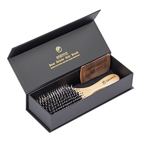 Hair Brush-Boar Bristle Hairbrush for Women Men Long Thick Fine Curly Wavy Dry or Wet Hair,Best Brush Set for Reducing Hair Breakage and Frizzy-Wooden Comb&Giftbox Inclued by Sosoon (Image #4)