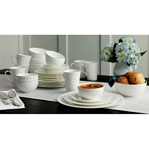 Mikasa Swirl White 36-piece Bone China Dinnerware Set (Bone -