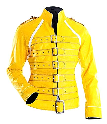 Prime-Fashion Women's Freddie Mercury Wembley Concert Costume Yellow Leather Jacket]()