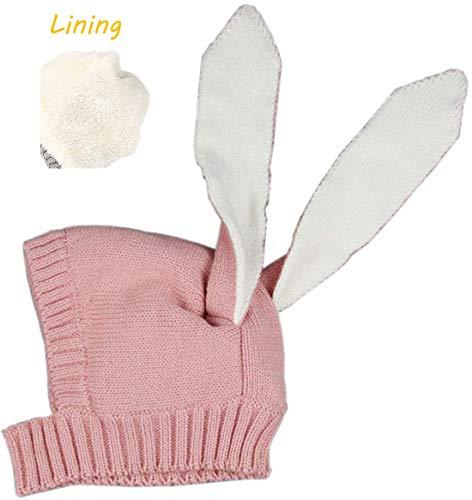 ce Lining Cute Rabbit Bunny Ear Cap Earflap Hat Newborn Infant Kids Knitted Autumn Winter Warm Hat (Pink) ()