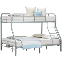 Mecor Bunk Bed Loft Bed Set for Kids Metal Frame with Ladder Twin over Full (Silver)
