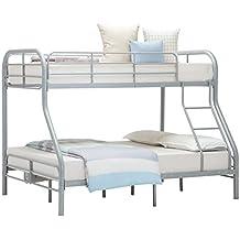 Hansentus Metal Twin over Full Bunk Bed Premium Bunk Bed(Silver)