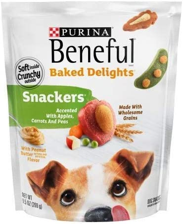 Purina Beneful Baked Delights Dog Treats, Snackers – Peanut Butter – 9.5 oz – Pack of 2