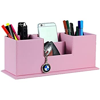 UnionBasic PU Leather 4 Compartment Desk Organizer Card/Pen/Pencil/Mobile  Phone Office