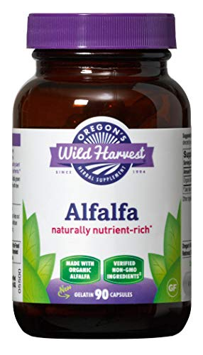 Oregon's Wild Harvest Non-GMO Alfalfa Capsules Organic Herbal Supplements (Packaging May Vary), 90 Count