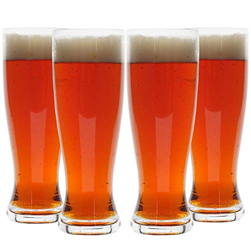 (Lily's Home Unbreakable Classic Beer Pilsner Glasses Made of Shatterproof Tritan Plastic and Ideal for Indoor and Outdoor Use, Reusable - Set of 4, 18 Ounces)