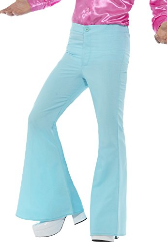 Men's 70s Groovy Disco Fever Flared Blue Pants Costume Large -