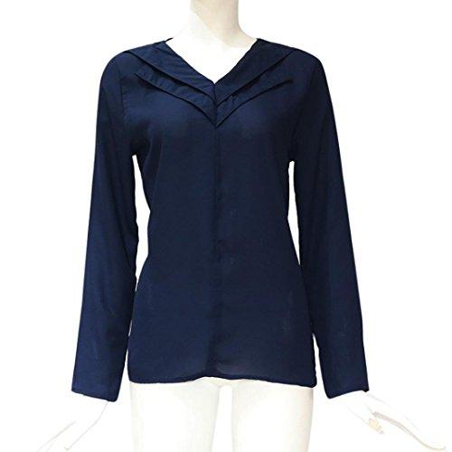 Unie Tops Longue Couleur Casual Mousseline Chic Shirt Chemisier Marine Manche Sexy Taille Blouse Short T Femme Grande 8OwqvxnC