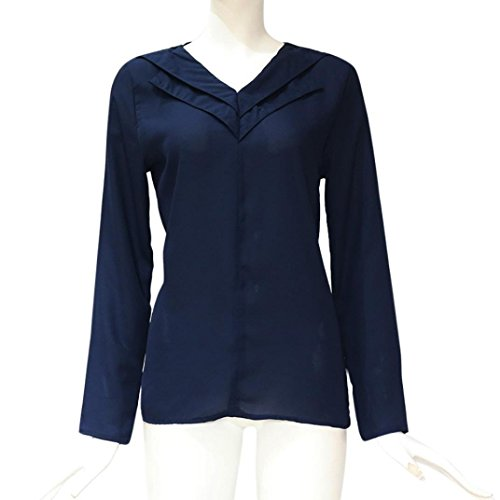 Marine Grande Chic T Tops Mousseline Longue Chemisier Unie Blouse Manche Femme Casual Taille Sexy Couleur Shirt Short wSaWUFEq4X