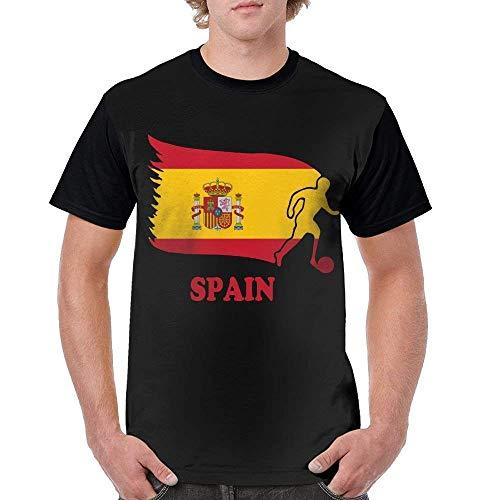 (GAMSJM Customized Man T-Shirts Tee Spain Football Soccer Flag Sport Casual Shirts Top)