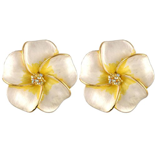 Crystal Earring Gold Plated Yellow (GOLD PLATED CRYSTAL HIBISCUS FLOWER EARRINGS MADE WITH SWAROVSKI ELEMENTS WHITE AND YELLOW)