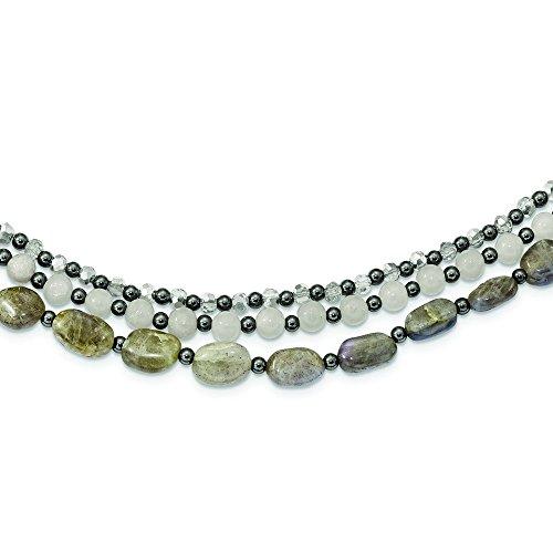 7.6mm Sterling Silver Crystal Hematite White Jade Labradorite 3-strand 2inch Ext Necklace - 19 Inch (19 Inch 3 Strand)