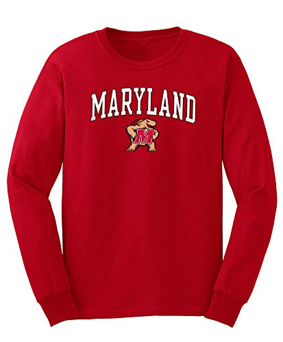 (Elite Fan Shop NCAA Men's Maryland Terrapins Long Sleeve Shirt Team Color Arch Maryland Terrapins True Red X)