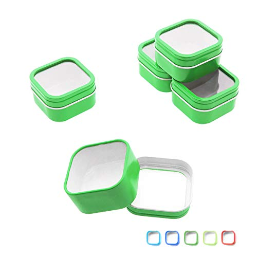 Mimi Pack 2 oz Square Window Metal Tins with Rounded Corner Tin Container with Lids for Party Favors, Teas, Gels, Creams, Salves, Crafts, Candles, and Gifts 24 Pack (Green)