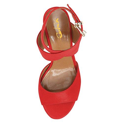 Xyd Femmes Bas Sandales À Talons Chaton Peep Toes Chaussures De Pompe À Bride Arrière Wrap À La Cheville Avec Boucle Rouge-brevet