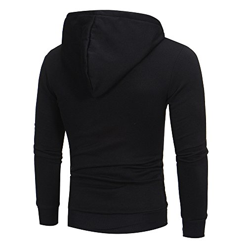 Jacket Mens Casual Outwear Hoodie Long Zipper Sweatshirt Coat Yuutimko Tops Hooded Sleeve Black tqwzxtPdp