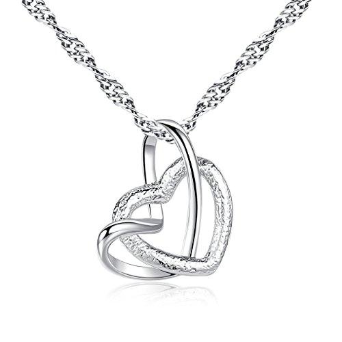 Women's Eternity Double Heart Pendant CZ Diamond Necklace Jewelry Gift by Kimloog (Silver)