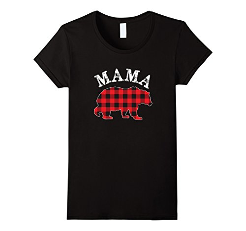Buffalo Womens T-shirt - Womens Red Plaid Mama Bear Matching Buffalo Family Pajama T-Shirt Medium Black
