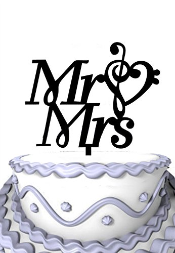 Meijiafei Mr & Mrs with Music Note Silhouette Wedding Anniversary Acrylic  Cake Topper