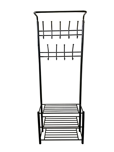 Amazon.com: Black Metal Entryway 3-Tier Zapato Banco de ...
