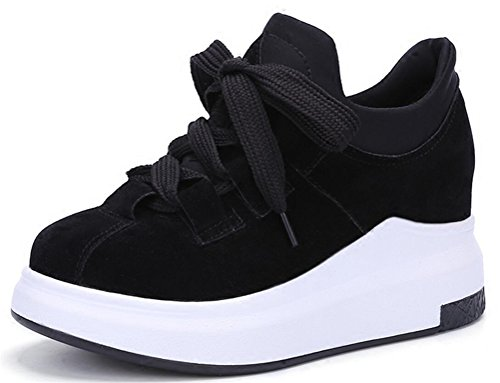 Cheap Women's Hidden Heel High Top Lace up Platform Running Shoes Fashion Sneakers (6.5, Black)