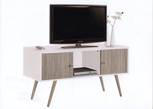 Hodedah Retro Style TV Stand with Two Storage Doors, and Solid Wood Legs, White