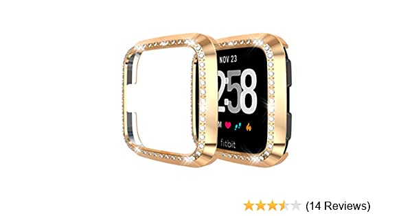 White+Rose Gold Smilego Screen Protector Protective Bling Cover Shell Case /& Tempered Glass Screen Protector Replacement for Fitbit Versa Lite