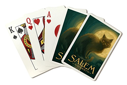 Salem, Massachusetts - Black Cat - Halloween Oil Painting (Playing Card Deck - 52 Card Poker Size with Jokers) -