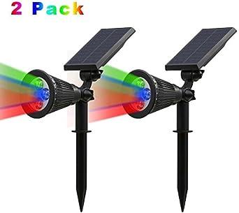 yoci Toy 2 Pack Solar Spotlights, 2 en 1 impermeable ajustable 4 ...