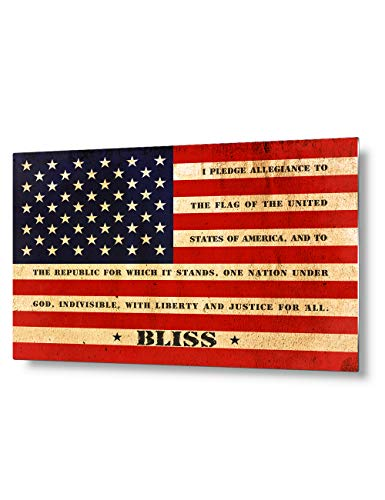 - IPIC - American Flag, Personalized Metal Transprinting Artwork with Family Name and Oath, Perfect Army for Independent Day, Thanksgiving and Christmas. 12x08