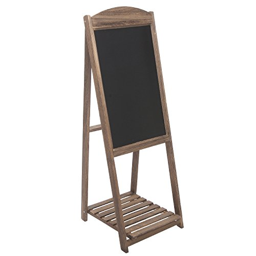MyGift Rustic Wood A-Frame Easel Chalkboard, Erasable Memo Board w/Shelf, Brown by MyGift (Image #1)