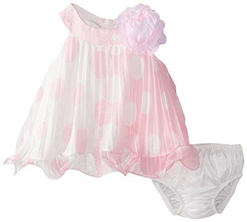 Bonnie Baby Baby-Girls Newborn Dot Crystal Pleat, Pink, 3-6 Months