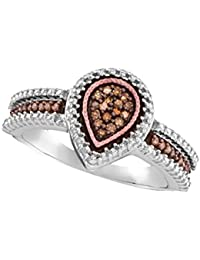 Sterling Silver & Rose Tone Brandy Diamond Chocolate Brown Stunning Teardrop Fine Design Ring 1/6 Ctw.